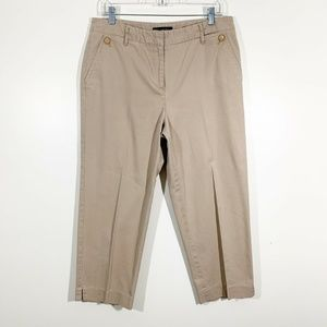 Talbots Khaki Tan Cotton Stretch Capri Pants Sz 10